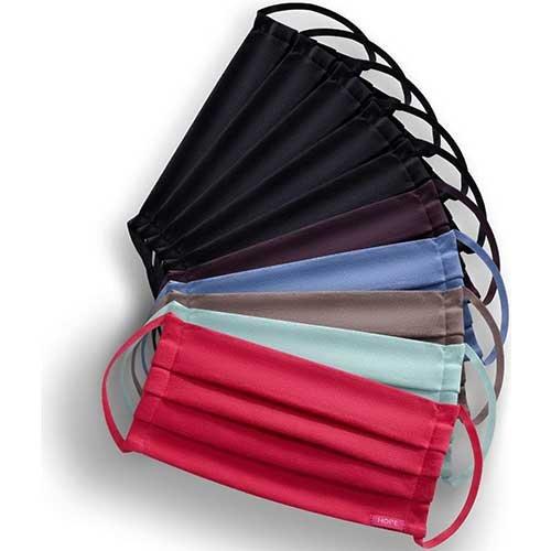 Kit 10 Máscaras de Proteção Hope 5 Coloridas e 5 Preta 100% Algodão Lavável e Reutilizável