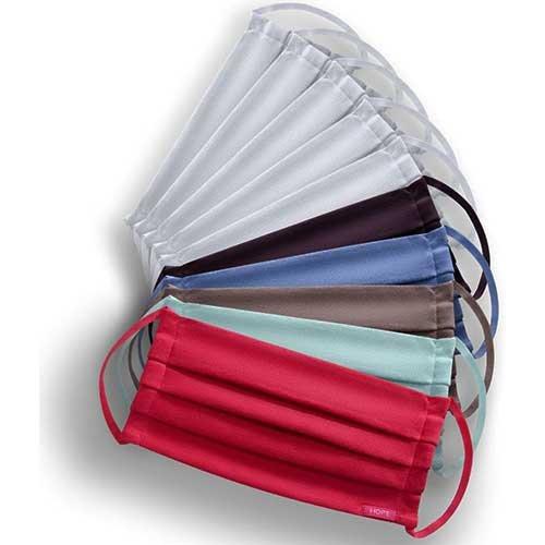 Kit 10 Máscaras de Proteção Hope Coloridas e Brancas 100% Algodão Lavável e Reutilizável