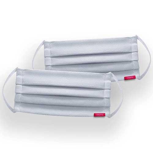 Kit 2 Máscaras de Proteção Hope Brancas 100% Algodão Lavável e Reutilizável