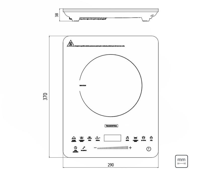 Cooktop de Indução Tramontina portátil, Slin Touch 127V