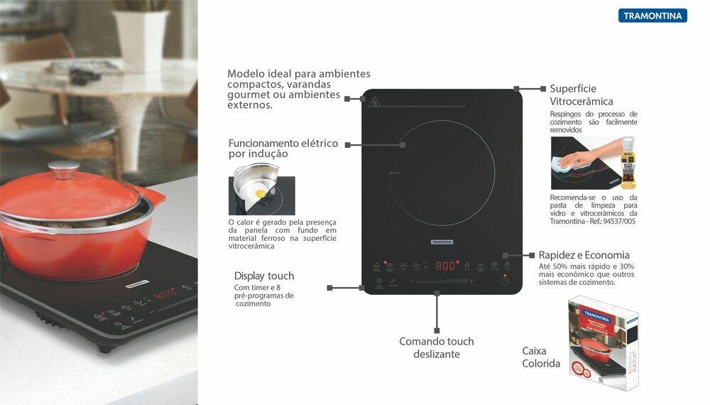 Cooktop de Indução Tramontina portátil, Slin Touch 220V