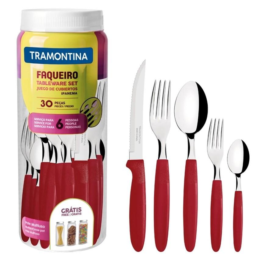 Faqueiro Inox Tramontina 30 peças Ipanema Vermelho