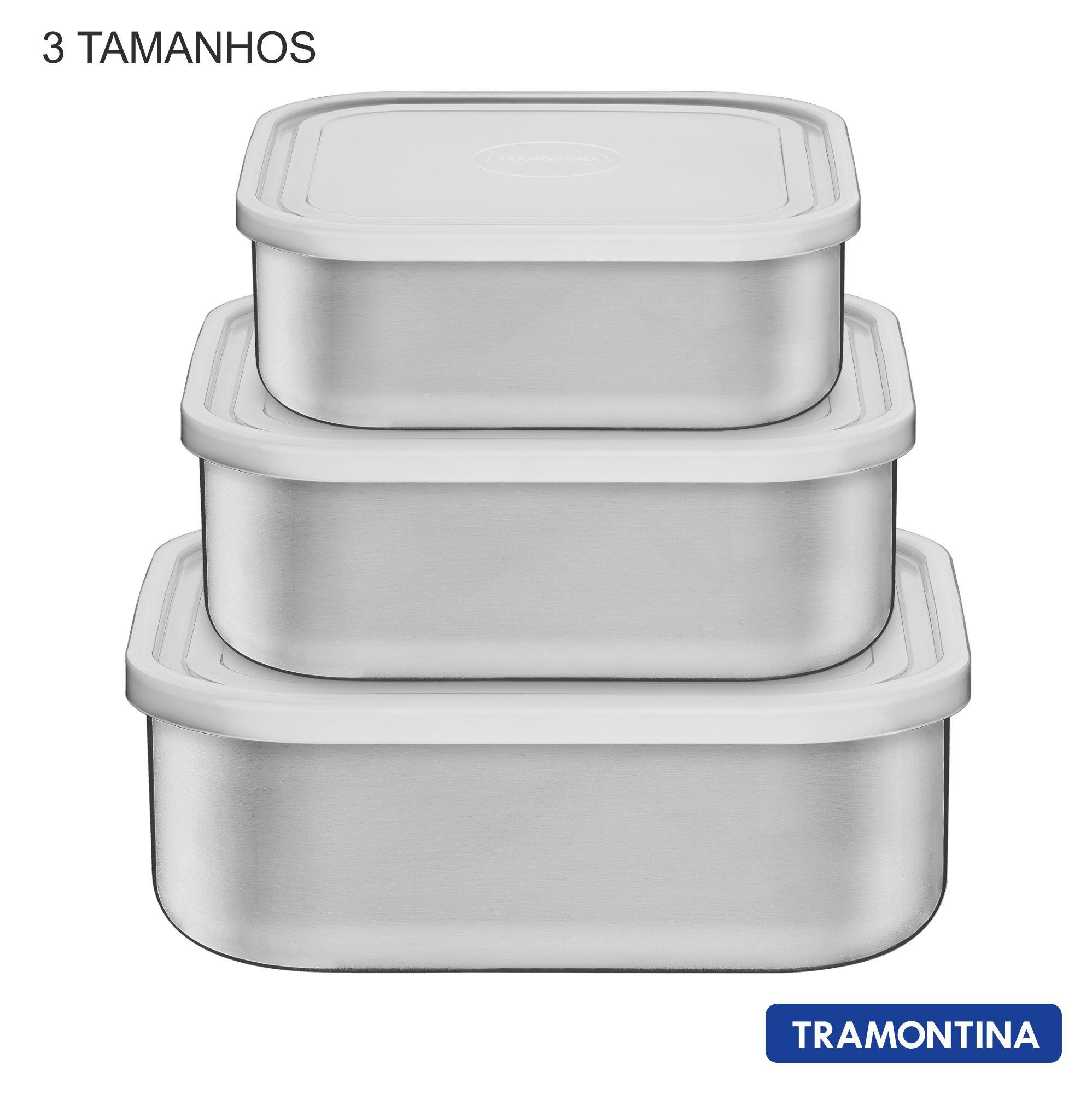 Jogo de Potes Tramontina Freezinox 3 peças com tampa