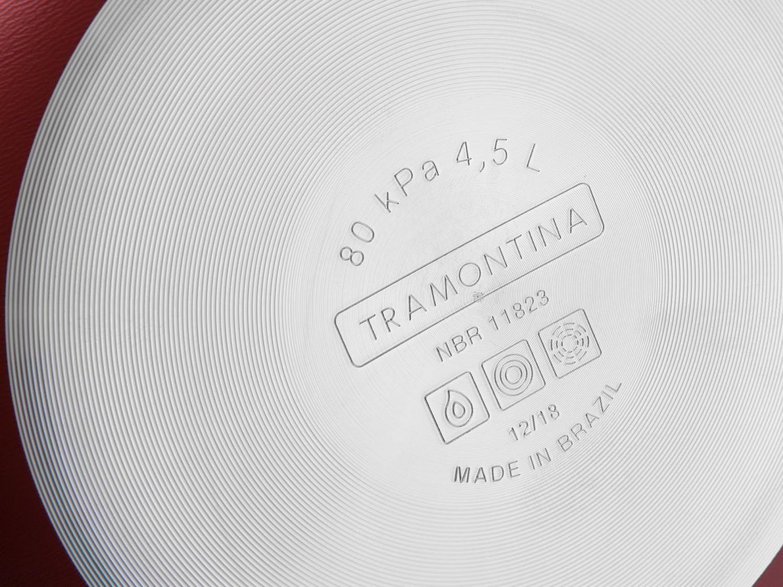 Panela Pressão Antiaderente Tramontina 4,5L Vancouver verm