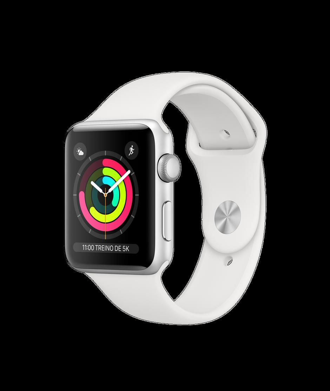Apple Watch Series 3 Silver Aluminum Case com White Sport Band 42mm