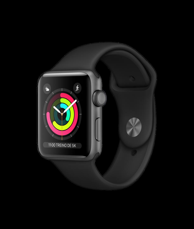 Apple Watch Series 3 Space Gray Aluminum Case com Black Sport Band 38mm
