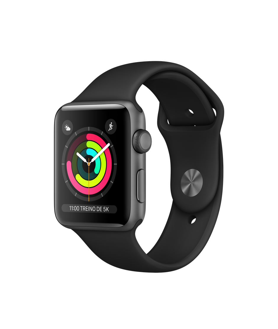 Apple Watch Series 3 Space Gray Aluminum Case com Black Sport Band 42mm