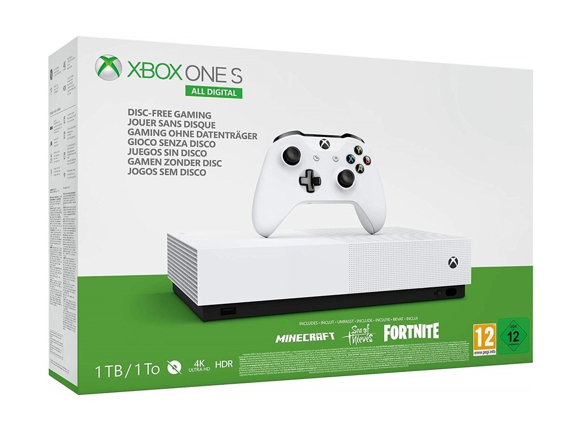 Xbox One S 1TB ALL DIGITAL COM 3 JOGOS