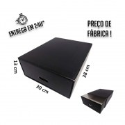 Caixa Gaveta Organizadora Preta 38x30x13cm (AxLxP) - pacote com 1 unidade