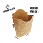Caixa Porção MC para Batata estampa branca 11x8x3 cm (AxLxP) - pacote com 100 unidades