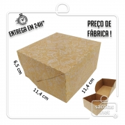 Caixa para Hamburguer estampa branca 6,5x11,4x11,4 cm (AxLxP) - pacote com 100 unidades