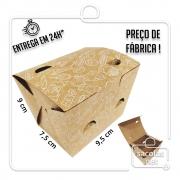 Caixa para Porção P estampa lanche branca 8x11,5x9 cm (AxLxP) - pacote com 100 unidades