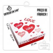 Caixa Presente Love M Tampa e Fundo 22,5x21x7,5 cm - pacote com 3 unid