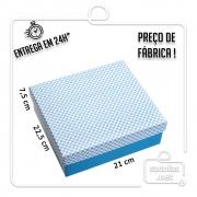 Caixa Presente Xadrez Azul M Tampa e Fundo 22,5x21x7,5 cm pacote com 3 unidades