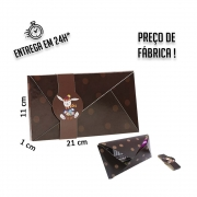 Envelope Chocolate 21x11x1 cm - pacote com 1 unidade