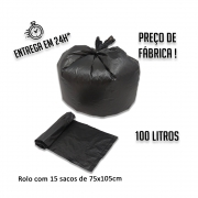 Saco de lixo (R) Rolo PIC 75x105 Preto 100L - Rolo com 15 unidades