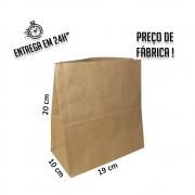 Saco Kraft 20x19x10 cm (AxLxP) - pacote com 100 unidades
