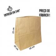 Saco Kraft 22x18x10 cm (AxLxP) - pacote com 100 unidades