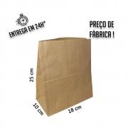 Saco Kraft 25x18x10 cm (AxLxP) - pacote com 100 unidades
