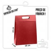 Sacola Caixa Vermelha 24 x 18 x 7 cm (AxLxP) - pacote com 3 unidades