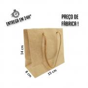 Sacola Handmade 14x15x8 cm Kraft (AxLxP) - pacote com 100 unidades