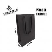Sacola Handmade 23x16x7 cm Preta (AxLxP) - pacote com 100 unidades