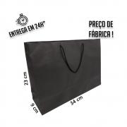 Sacola Handmade 23x34x9 cm Preta (AxLxP) - pacote com 50 unidades