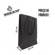 Sacola Handmade 32x24x10 cm Preta (AxLxP) - pacote com 50 unidades
