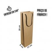 Sacola Handmade para 1 garrafa 39x12x8 cm Kraft (AxLxP) - pacote com 50 unidades