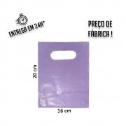 Sacola Plástica Lilás Boca de Palhaço Reciclada  16x20cm - pacote com 1Kg