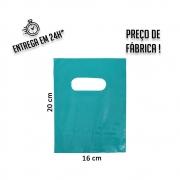 Sacola Plástica Verde Tiffany Boca de Palhaço Reciclada 16x20cm - pacote com 1Kg