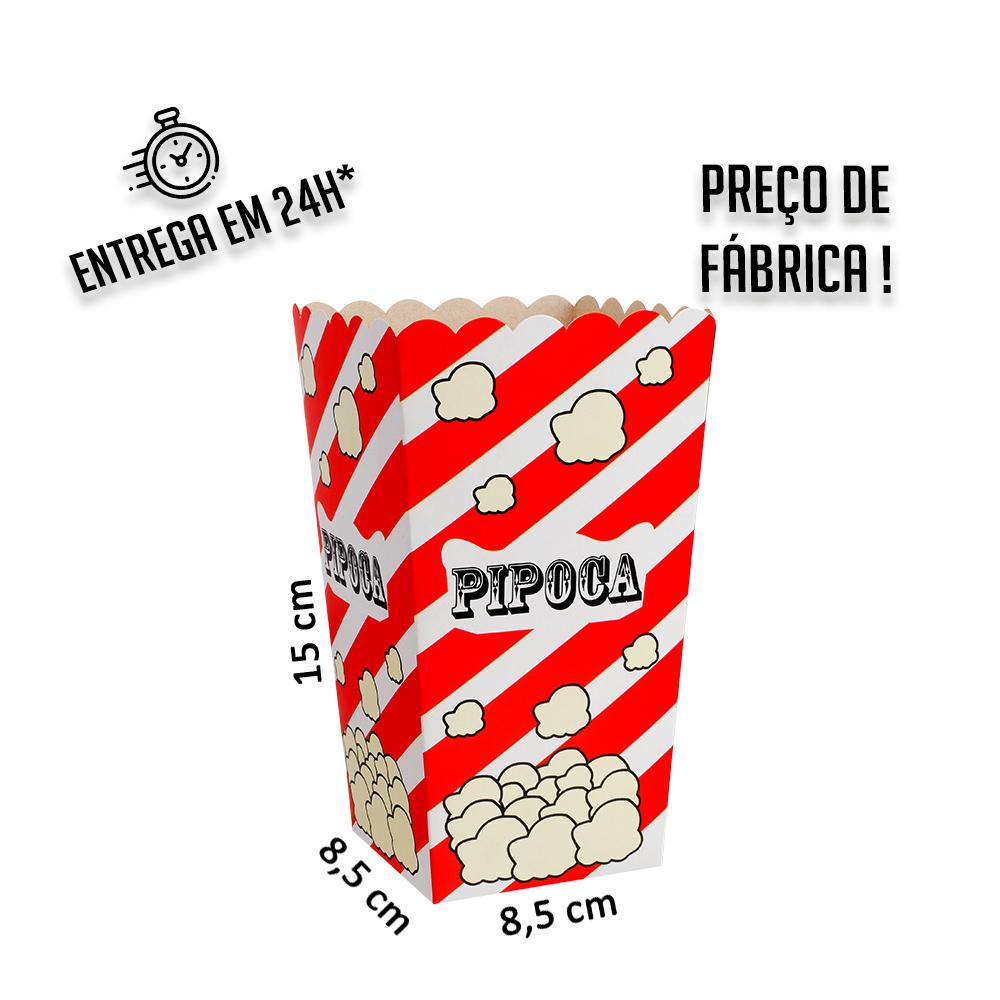 Balde pipoca tradicional 15 x 8,5 x 8,5 cm (AxLxP) - pacote com 5 unidades