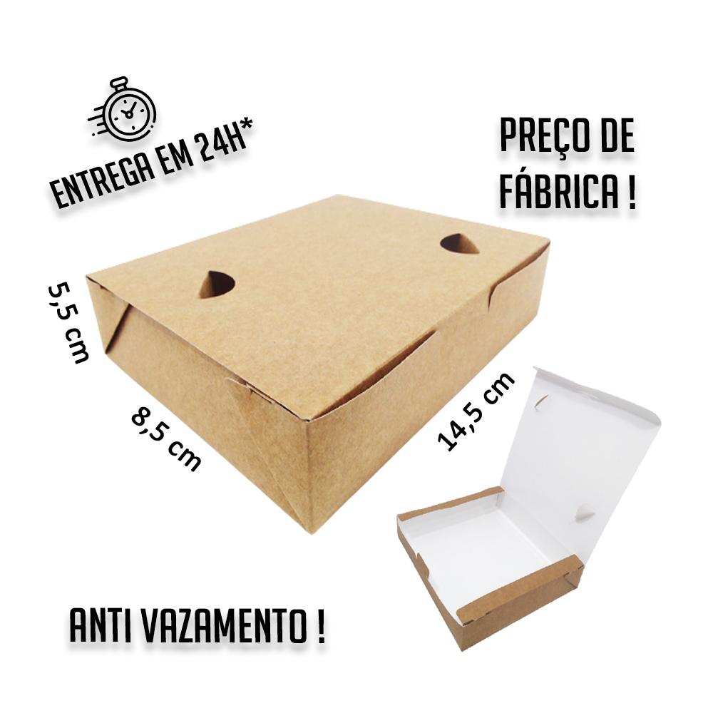 Caixa Anti Vazamento 5,5x14,5x8,5 cm (AxLxP) - pacote com 100 unidades