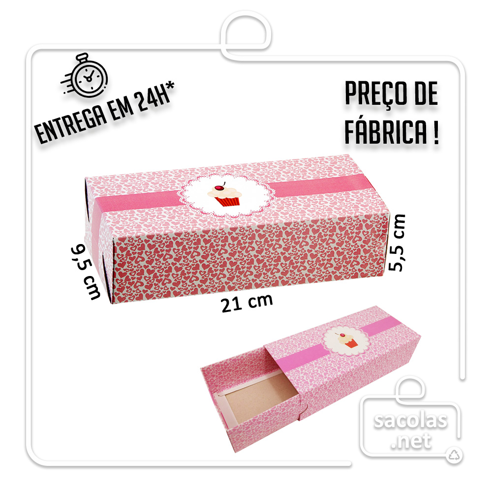 Caixa Estojo Brigadeiro 21 x 9,5 x 5,5 cm - pacote com 5 unidades
