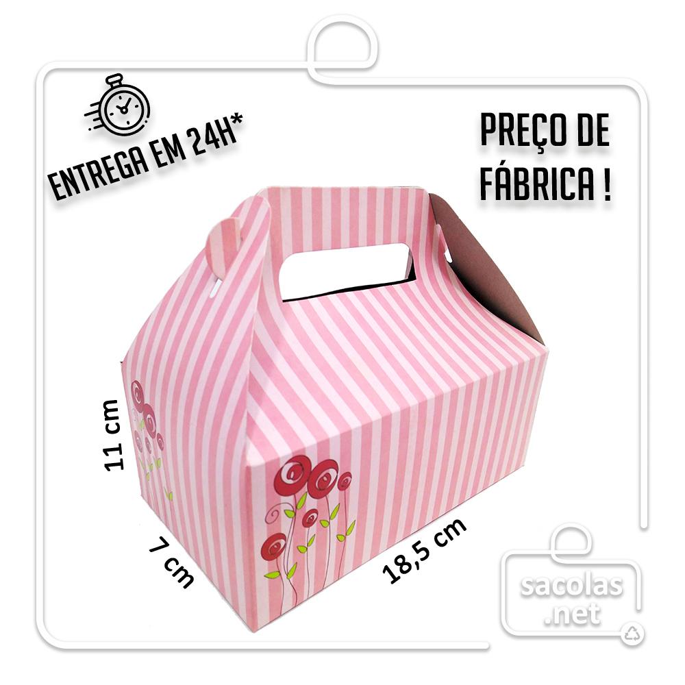 Caixa Lancheira G Listras 7x18,5x11 cm (AxLxP) - pacote com 5 unidades