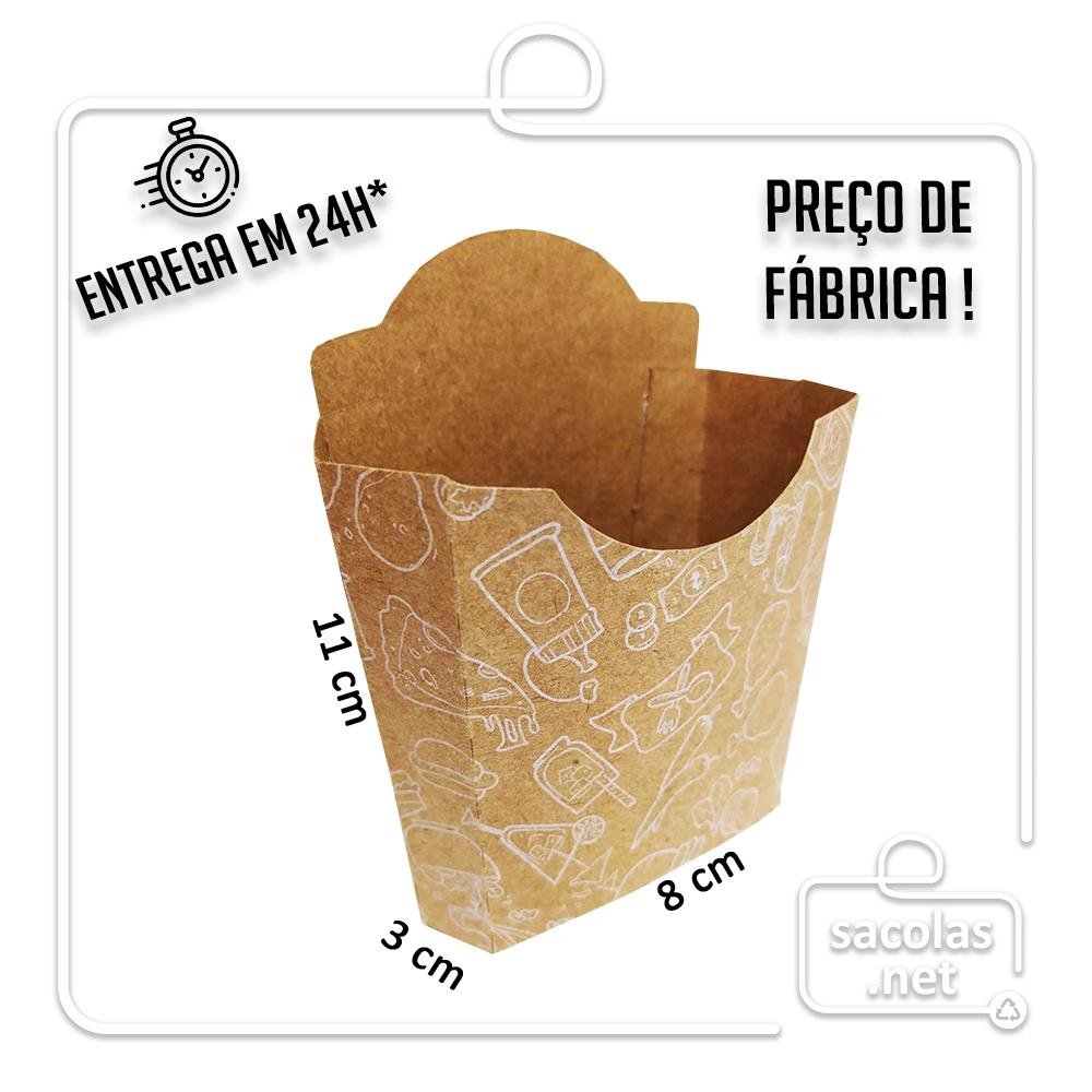 Caixa para Batata estampa branca 11x8x3 cm (AxLxP) - pacote com 100 unidades