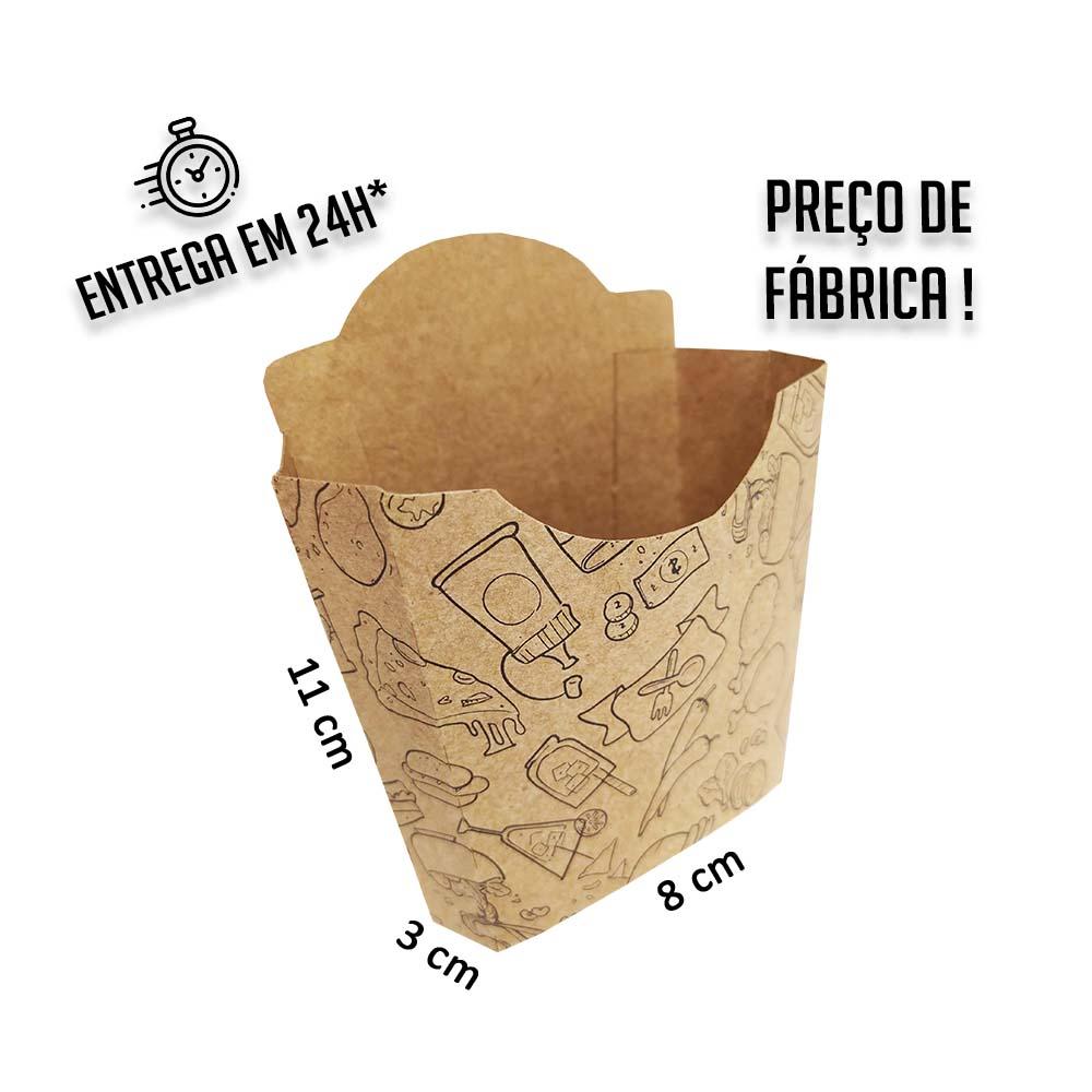 Caixa Porção MC para Batata estampa preta 11x8x3 cm (AxLxP) - pacote com 100 unidades
