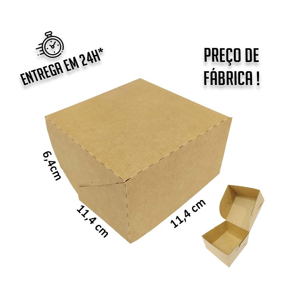 Caixa para Hamburguer 6,5x11,4x11,4 cm (AxLxP) - pacote com 100 unidades