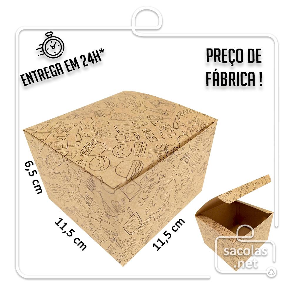 Caixa para Hamburguer estampa lanche preta 6,5x11,5x11,5 cm (AxLxP) - pacote com 100 unidades