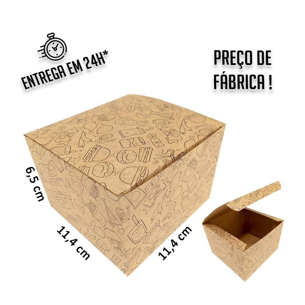 Caixa para Hamburguer estampa preta 6,5x11,4x11,4 cm (AxLxP) - pacote com 100 unidades