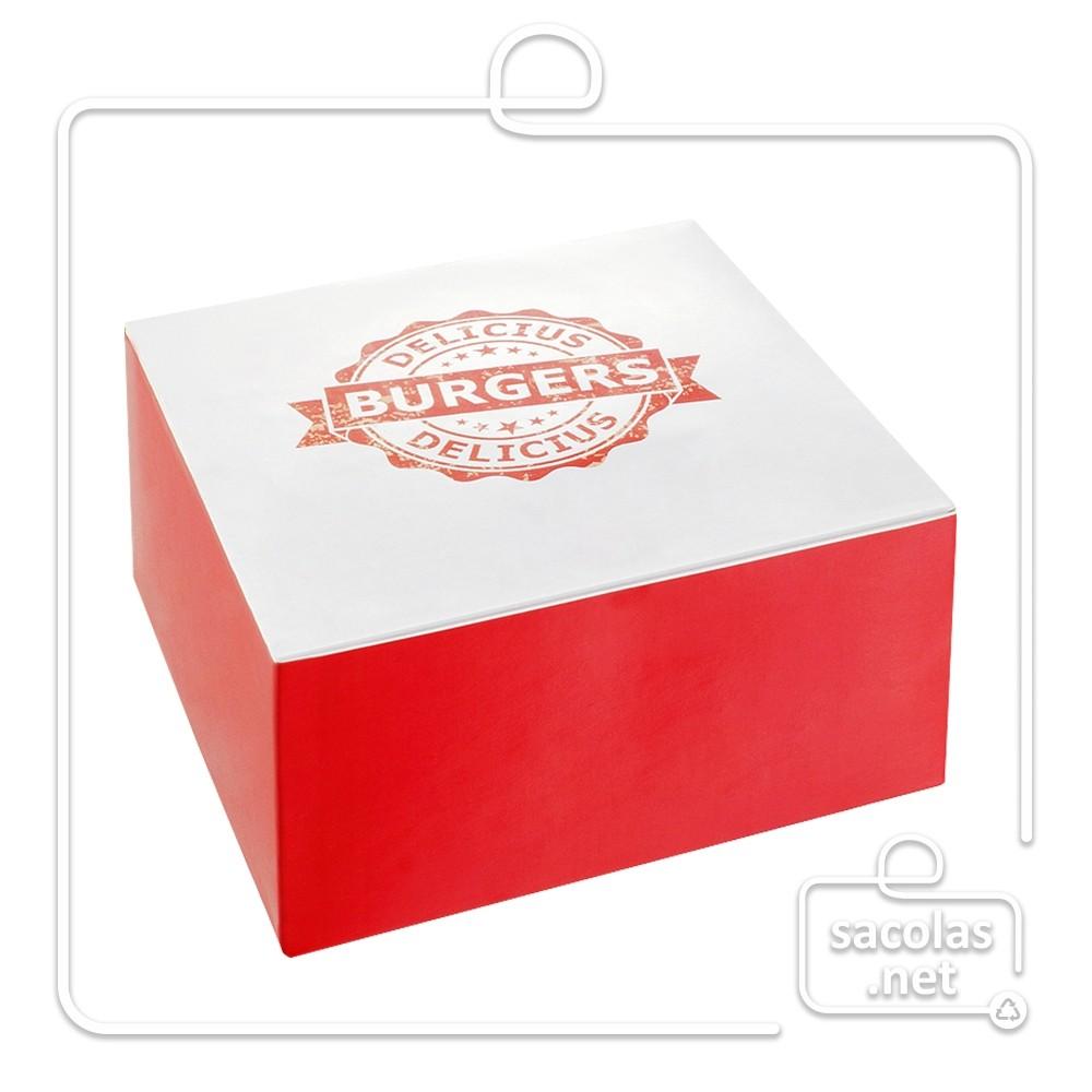 Caixa para Hamburguer P 5,5 x 10 x 10 cm (AxLxP) - pacote com 100 unidades