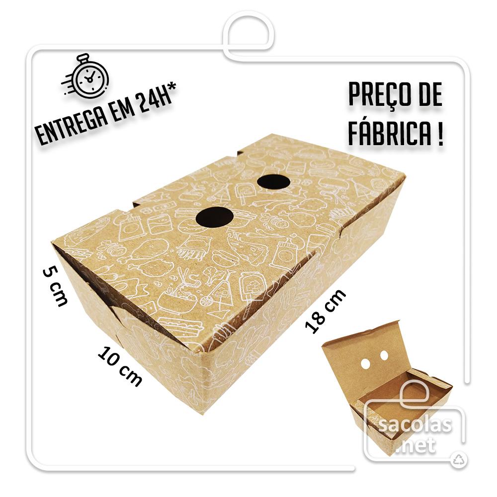 Caixa para Porção G estampa branca 5x18x10 cm (AxLxP) - pacote com 100 unidades