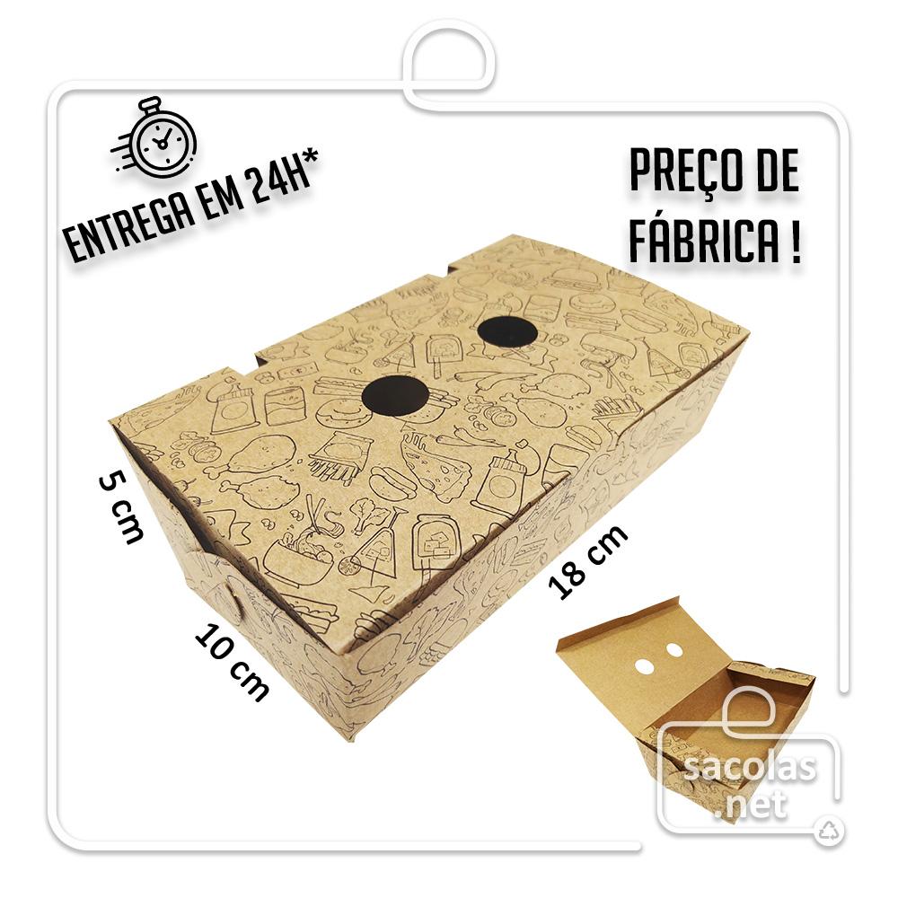Caixa para Porção G estampa lanche preta 5x18x10 cm (AxLxP) - pacote com 100 unidades