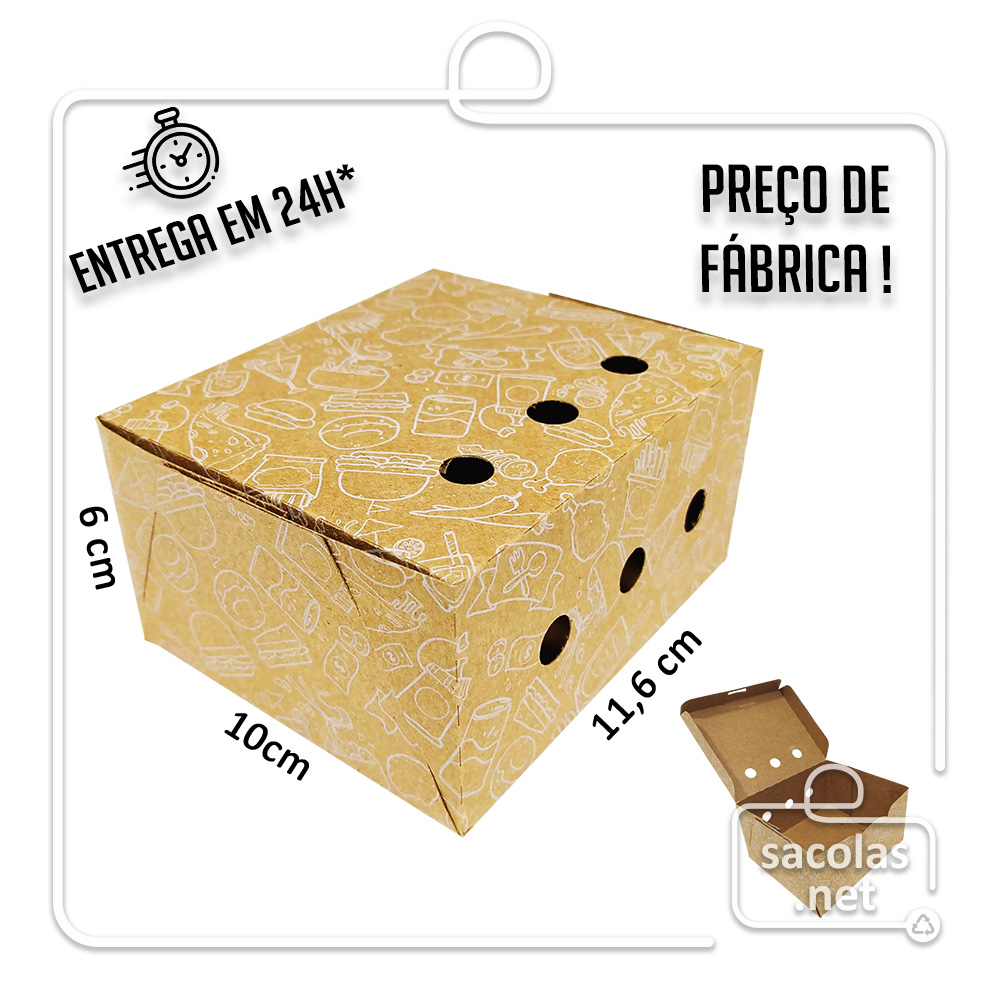 Caixa para Porção MT estampa branca 6x11,6x10 cm (AxLxP) - pacote com 100 unidades