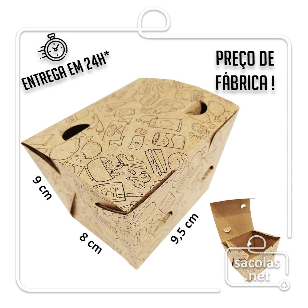Caixa para Porção P estampa preta 8x9,5x9 cm (AxLxP) - pacote com 100 unidades
