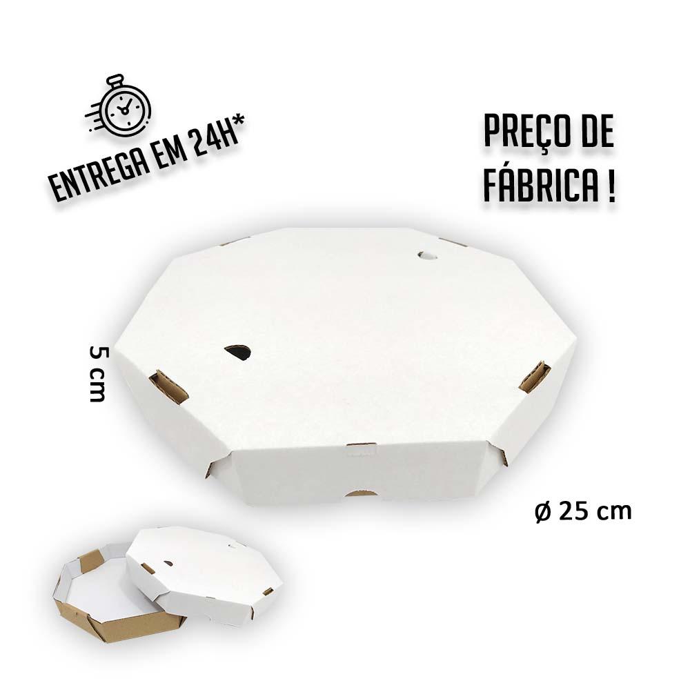Caixa Pizza Oitavada 25 cm (diâmetro) x 5 cm (altura) - Pacote com 25 unidades