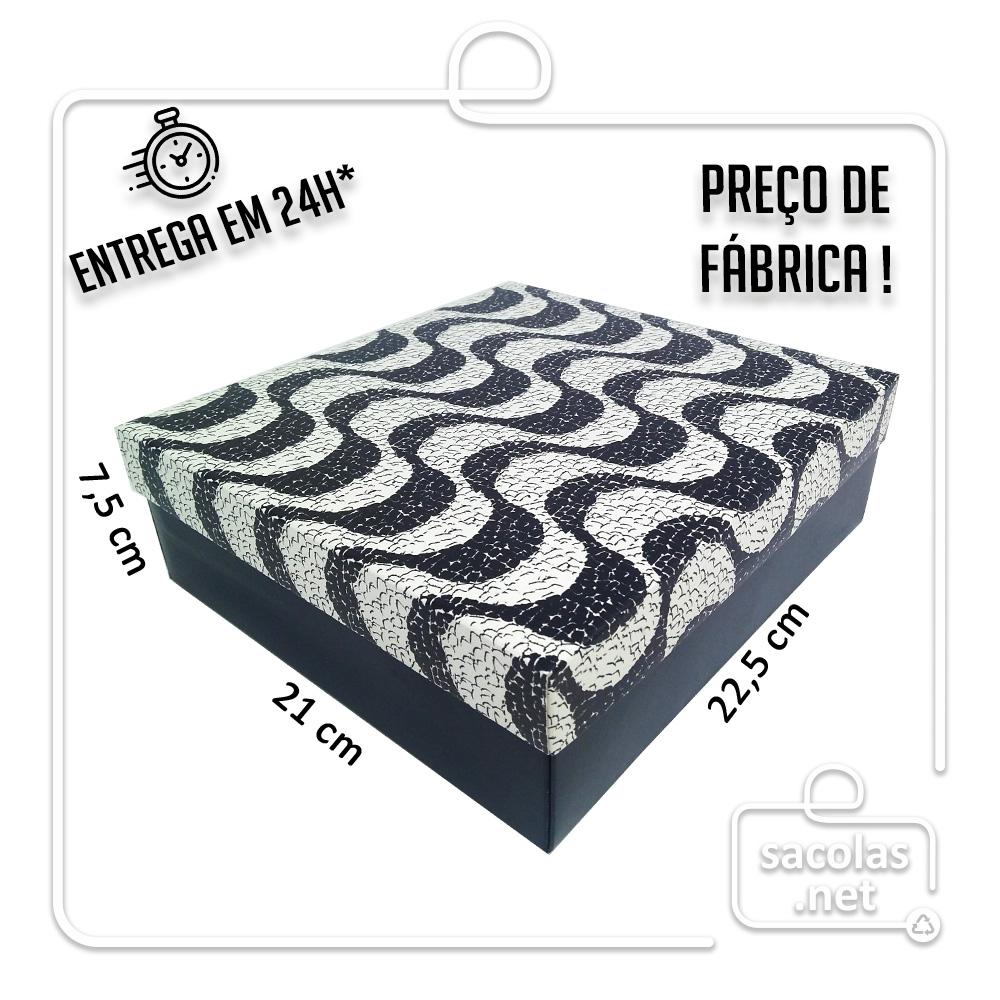 Caixa Presente Copacabana M Tampa e Fundo 22,5x21x7,5 cm - pacote com 3 unidades