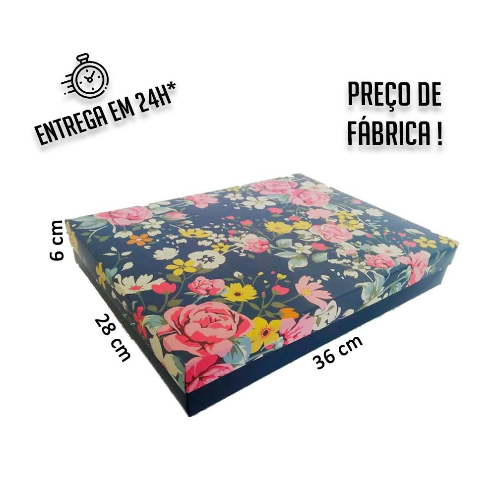 Caixa Presente Floral G Tampa e Fundo 36x28x6 cm - pacote com 3 unidades