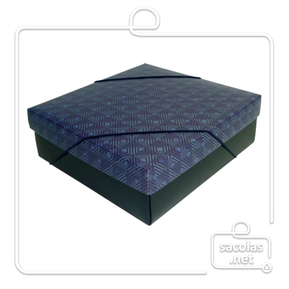 Caixa Presente Listras M Tampa e Fundo 22,5x21x7,5 cm - pacote com 3 unidades