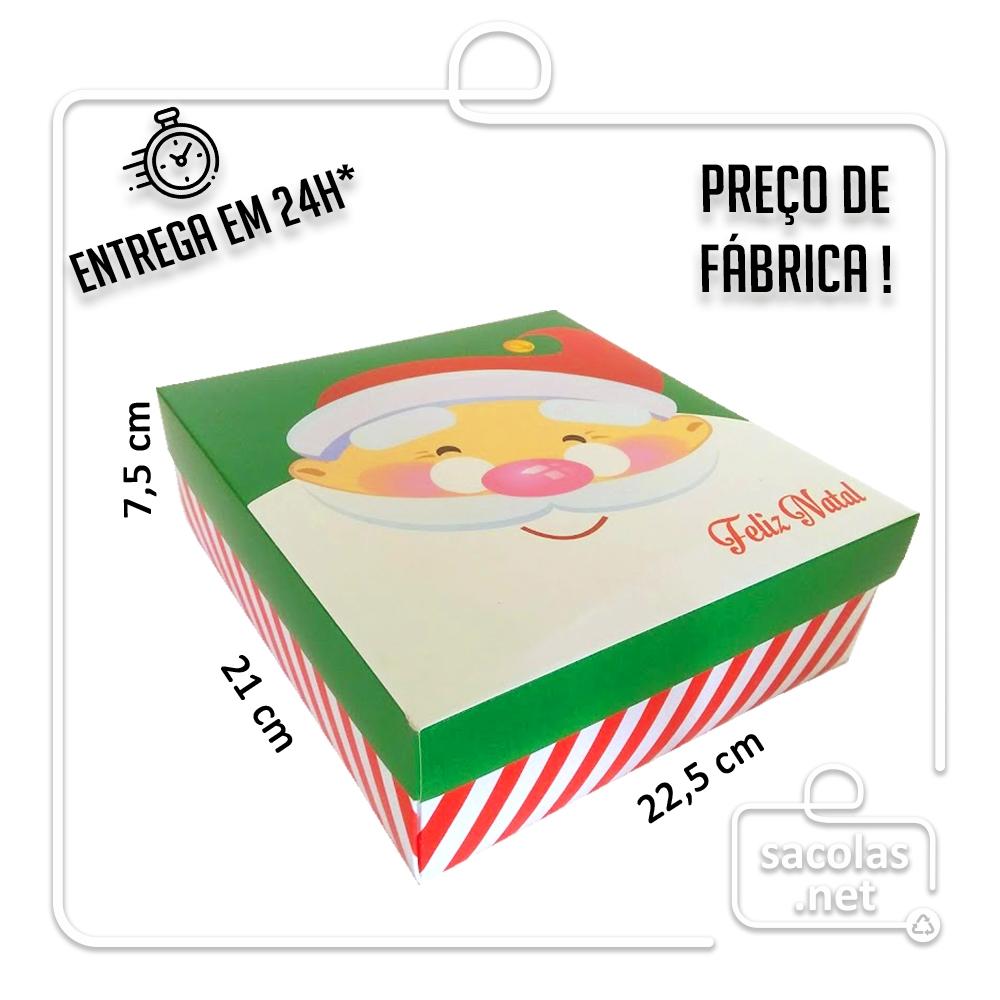 Caixa Presente Natal M Tampa e Fundo 22,5x21x7,5 cm (LXPXA) - pacote com 3 unidades